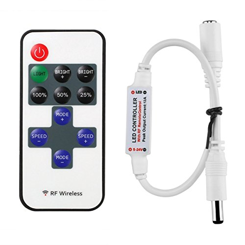 LitaElek Mini 12A LED Fernbedinung Controller für Einfarbige LED Streifen, RF Dimmer Steuerung Drahtlose Controller für alle DC 12V Einfarbige LED Lichtstreifen 5050 3528 2835 5630 LED Streifen usw.