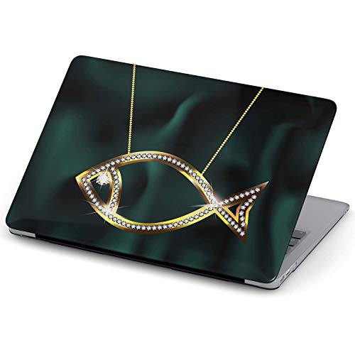 Azzumo Diamond Fish Necklace Design Hard Shell Case Cover For TheMacBook Pro Touch 15 inch (2016-2018)