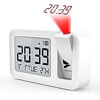 Hosome Reloj Despertador Digital Despertador Proyector con Temperatura 4 Brillo de Proyección Ajustable Volumen de 2 Niveles,Función de Snooze,Configuración de 12/24 H para Dormitorio y Oficina