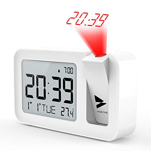 Hosome Projection Alarm Clock, Digital Alarm Clock on Ceiling with Indoor Temperature Large LCD Display and 4 Adjustable Projection Brightness with 2 Alarm Volume Setting for Bedroom, Office,White