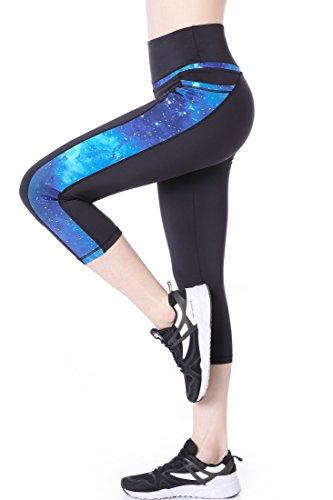 Picotee Donna Leggins Sportivi Vita Alta Pantaloni Yoga Capri Anticellulite Tasche Medium - Blu Modello