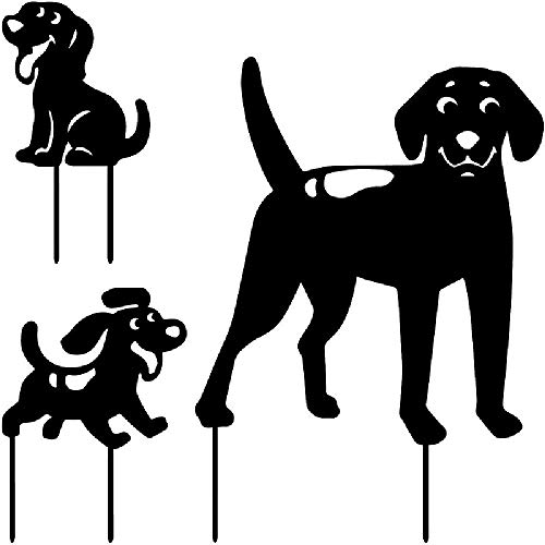 NANFAN Metal Dog Garden Stakes Outside Silhouette Stake Garden Art Decor Set Of 3 Decorative Garden Stakes Outdoors Yard Ornament Gifts For Dog Lovers,Black