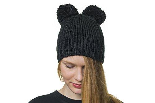 shenky - Bonnet avec Pompon - Deux Pompons/Noir - 27 cm