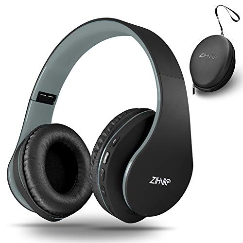 Bluetooth Over Ear Kopfhörer, Zihnic Wireless Faltbares Stereo Headset, Kabelloser Schalldämmung Kopfhörer mit Eingebautem MikrofonMicro SD/TF FM, On Ear Headphones für Phones/IPad/PC (Black-Gray)