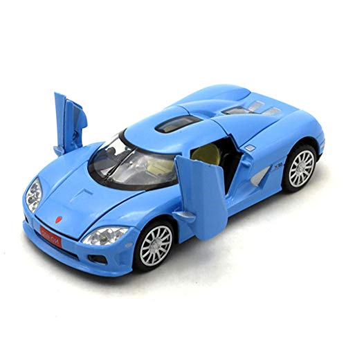 GAOQUN-TOY 1:32 Alloy Die-cast Scale Model Car/Compatible with Koenigsegg CCX/Sound and Light Sports Car Model Birthday Collection Ornaments (Color : Blue)
