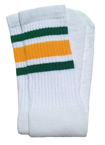 Skater Socks 22' Knee high White tube socks with Green-Gold stripes style 3