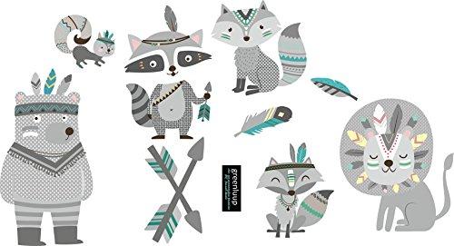 greenluup Öko Wandsticker Wandaufkleber Wandtattoo Indianer Tiere Fuchs Bär in Grau Kinderzimmer Babyzimmer (Fuchs & Freunde Grau)