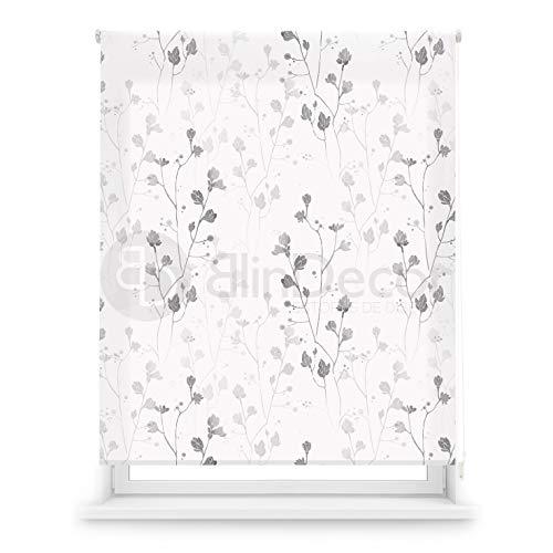 Blindecor Estor Enrollable translúcido Digital, Polyester, Blanco (Flores), 130 X 180 cm