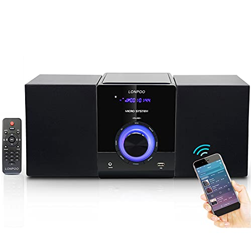 LONPOO Compact Stereo HiFi System with CD Player, Bluetooth, FM Radio, USB,...