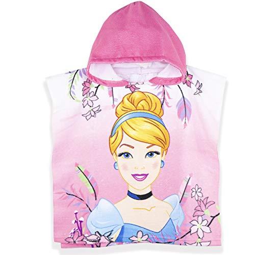 Toalla de poncho con capucha oficial de Disney para niñas, diseño de princesa, tela de microfibra, el mejor absorbente de agua, perfecto para el baño y la playa, color rosa