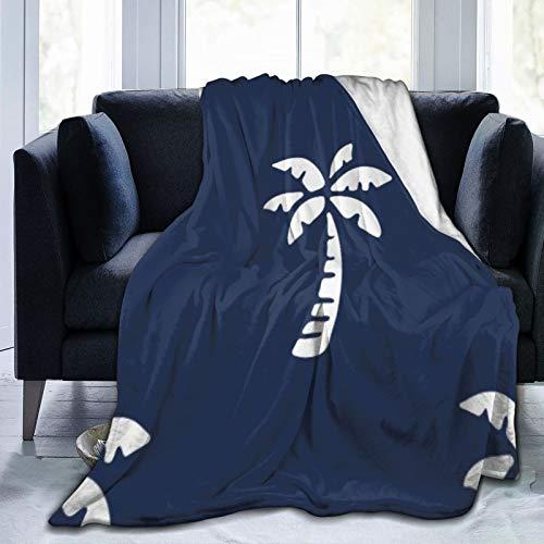 Bernice Winifred Manta de Forro Polar Ultra Suave con patrón de Palmera Tropical Azul Marino Fabricada en Franela Anti-Pilling, más cómoda y cálida.60 x 50