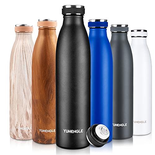 750ml Botella de Agua de Acero Inoxidable, Botella Termica con Doble Aislamiento para 12 Horas de Bebida Caliente y 24 Horas Sin BPA para Deporte, Oficina, Yoga, Ciclismo