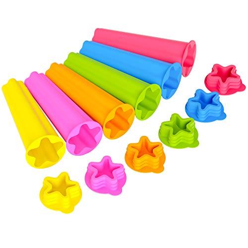 Joyoldelf Eisformen, 6 Eisformen EIS am Stiel Silikon, LFGB Geprüft und BPA Frei, Sternförmige Eisform, Wiederverwendbare Kinder- und Erwachsene-Eisformen mit Deckeln
