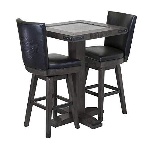 Harley-Davidson Bar and Shield Square Pub Table & 2 Square Stools - Industrial Grey