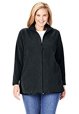 Woman Within Women's Plus Size Zip-Front Microfleece Jacket - 2X, Black from Woman Within