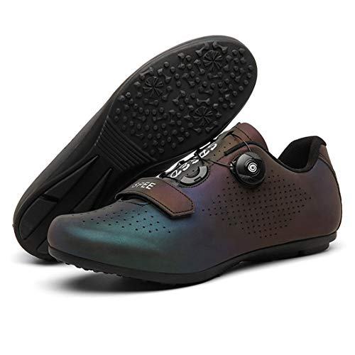 Cool-CZQ Cycling Shoes Men and Women Non-slip Breathable Road Shoes Mountain Bike Shoes Flat Bottom (10,Discoloration Blue)