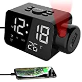 Canbrake Projection Alarm Digital Clock Radio,FM Clock Radio with USB Charger,Dual Alarm Clock with Brightness Adjustment,for Bedrooms Ceiling,Desk,Snooze Heavy Sleeper (White Light)