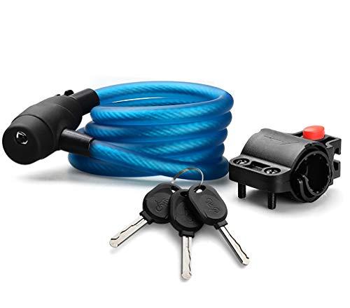 Bloqueo de la Bicicleta 180 Cm con 3 Piezas de Llave y Cable de Metal Candado para Bicicleta Carga Pesada Combinación Segura con Soporte de Montaje para Bicicleta Triciclo Scooter,Azul
