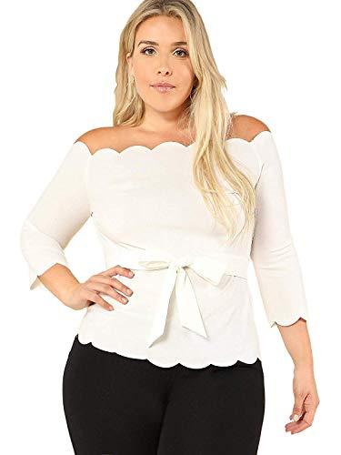 ROMWE Damen s Plus / 4-arm Weg von der Schulter top ausgebogte schößchen-Bluse mit belte 0X Plus weiß