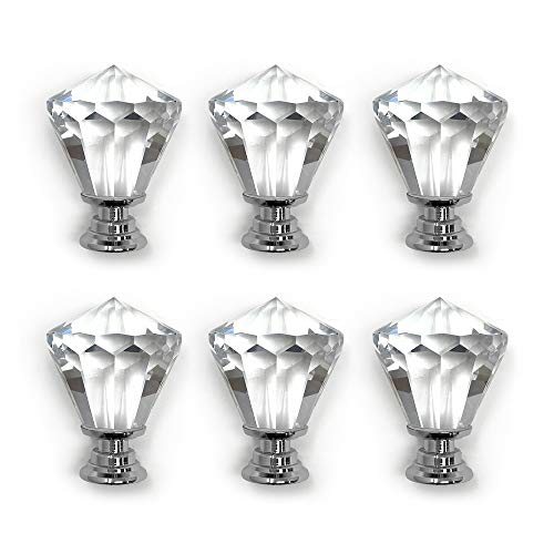Isaac Jacobs Crystal Knobs Set of 6, Small Cabinet Knobs with Screws, Drawer Pulls, Glass, for Dresser, Bathroom, Bedroom, Kitchen, Living Room & More (6, Diamond (42 MM))