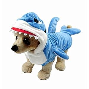 Mogoko Funny Dog Cat Shark Costumes, Pet Halloween Christmas Cosplay Dress, Adorable Blue Shark Pet Costume,Animal Fleece Hoodie Warm Outfits Clothes (S Size)