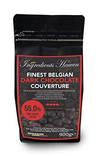 Ingredients Heaven - Feinste Belgische 55% Dunkle Schokoladenkuvertüre (Zartbitterschokolade) - Finest Belgian Dark Chocolate Couverture - 900g