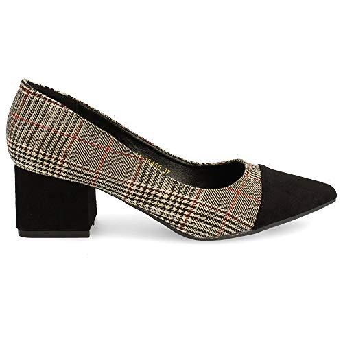 Zapato de Tacon Cuadrado y Punta Fina Tipo Salon, en Dos Tonos....