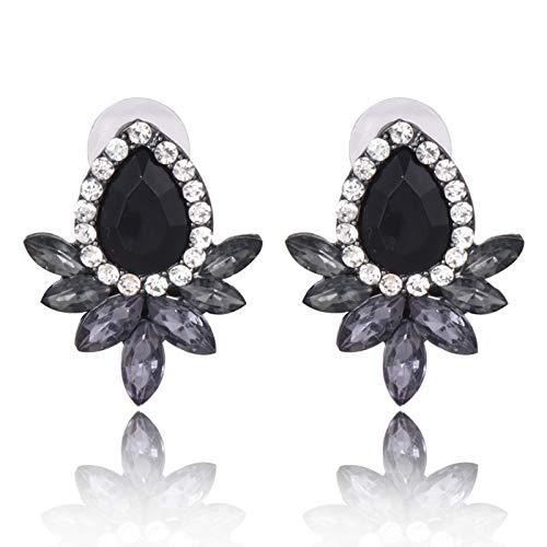 WEIXINMWP Pendientes Europeos y Americanos, Piedras Preciosas Negras en Forma de Flor, Pendientes de Diamantes, joyería exagerada de Personalidad