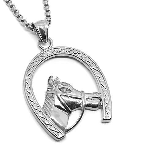 BOBIJOO Jewelry - Hanger Iron Horse Hoofd Camargue Gypsy Reiziger Staal, Zilver + Ketting 60cm