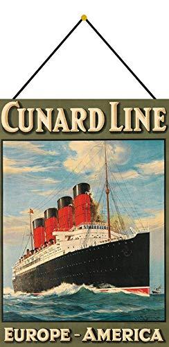 Generisch Cartel de Chapa 20 x 30 cm Curvado con cordón Cunard...