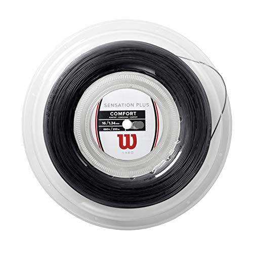 Bobine de cordage pour raquettes de tennis Wilson, Sensation Plus, Calibre 17 (1,28mm), Noir, WR830030117