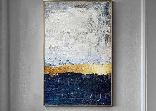Feuille d'or Abstrait Blanc Bloc Toile Peinture Mode Grand Mur Art Photo pour SalonModerne Home Decor 240x370cm