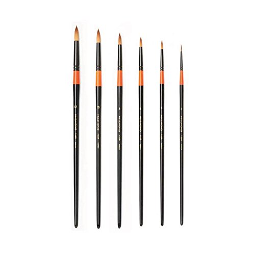 HWAHONG Artist Watercolor Paint Brush700R, Round Brush_Set of 6 Brushes