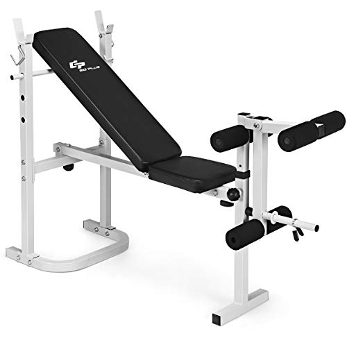 Goplus Olympic Weight Bench, Multi-Purpose Weight Lifting Bench with Leg Developer, Barbell Racks, Adjustable Backrest, 440 LBS Heavy Duty Fitness Weightlifting for Strength Training & Indoor Exercise