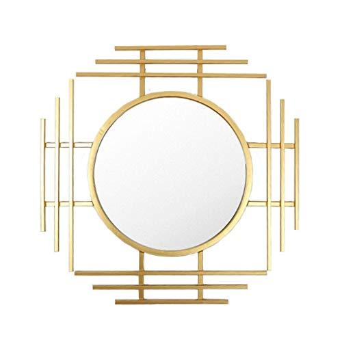 Household Necessities/New Chinese restaurant zonnebril open haard spiegel hangende woonkamer spiegel decoratieve spiegel wandspiegel creatieve ingangspiegel 71.5*71.5CM Goud