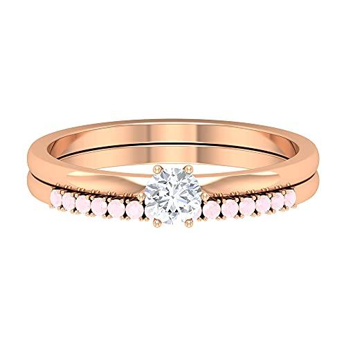 Rosec Jewels 14 quilates oro blanco redonda ROUND POINTER Pink Diamond Ónix rosa creado en laboratorio