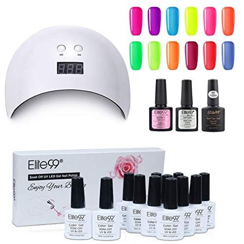 Elite99 Smalto Semipermanente per unghie Gel Polish Kit di Partenza in 12 coloris e Base Top Coat UV Nail Soak Off Nail Art Manicure op & Base Coat Set per Manicure 10ML - SET07