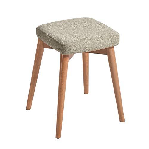LH voetenbankje poef van hout, stapelbare startskant voor in de woonkamer, kaptafel, make-up zitstoel, kruk, zachte kussens met afneembare linnen band