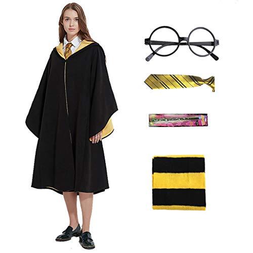 Amycute - Disfraz de mago, vestido de bruja con bufanda y baqueta de corbata, kit de accesorios para disfraz de nio o adulto para Halloween, fiesta de carnaval, fiesta de Navidad, baile (Size S)