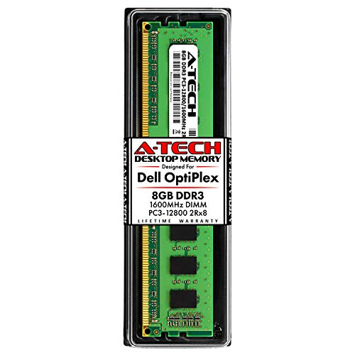 A-Tech 8GB RAM Stick for Dell OptiPlex 9020, 9010, 7020, 7010, 3020, 3010, MT/DT/SFF/USFF - DDR3 1600MHz PC3-12800 Non-ECC DIMM Memory Upgrade Module