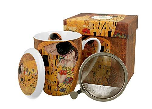 DUO Colección Art Gallery by Gustav Klimt The Kiss - taza de té con infusor y tapa de porcelana china en caja de regalo, taza con filtro