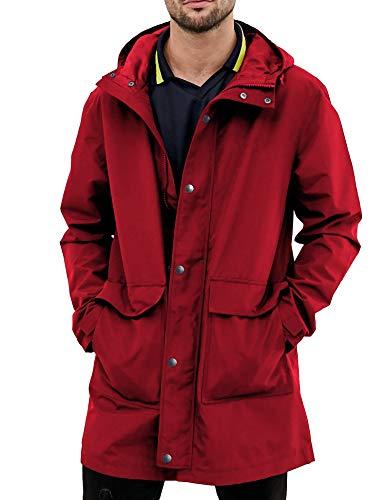 URRU Men's Raincoats Waterproof Jacket with Hood Windbreaker Breathable Lightweight Outdoor Long Rain Jacket for Men Red M