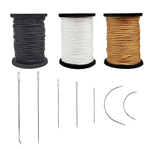 Topus Extra Strong Upholstery Repair Sewing Thread Kit and Heavy Duty Household Hand Needles, Including 7 Styles of Leather Canvas Sewing Needles and 3 Colors Nylon Thread (54 Yard of Each Roll)