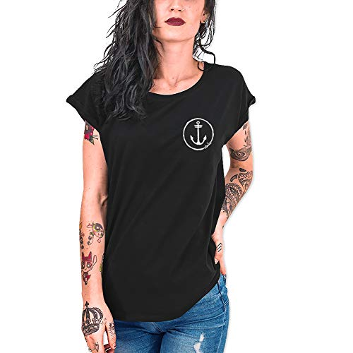 VIENTO Team Camiseta para Mujer (Negro, Small)