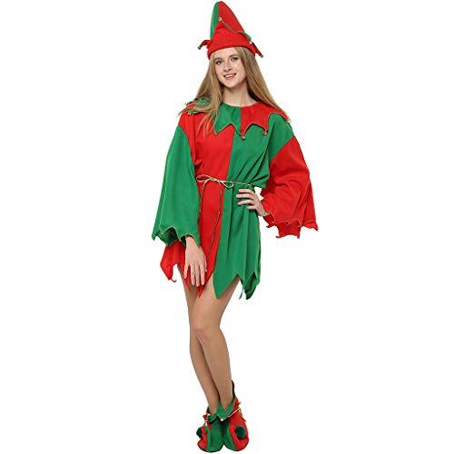 EraSpooky Disfraz de Duende de Papá Noel Ayudante Mujer Navidad