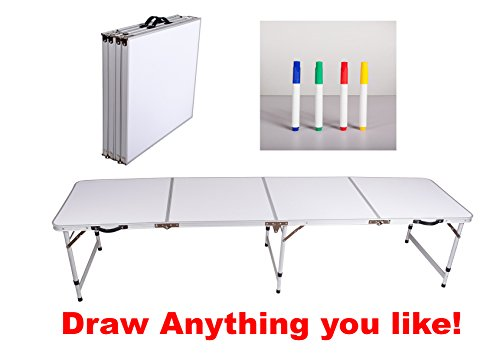NEW BEER PONG TABLE 8' ALUMINUM PORTABLE ADJUSTABLE FOLDING INDOOR OUTDOOR TAILGATE DRINKING PARTY GAME WHITEBOARD DRAW ANYTHING YOU LIKE 00
