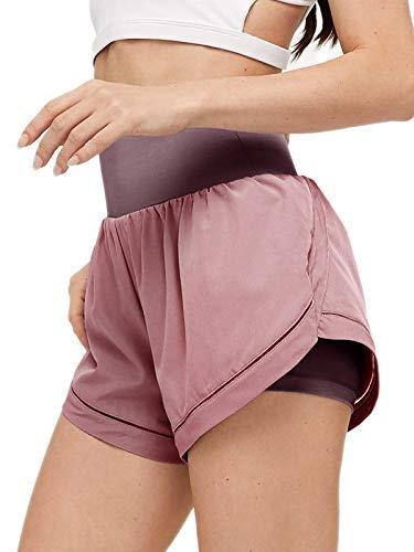 ADREAMLY Shorts Damen Sport Sommer 2 in 1 Kurze Hose Schnelltrocknende Laufhose für Damen Fitness Joggen und Training Sporthose für Yoga Sport Jogging Gym Running Beiläufige Elastisch(Rosa M)