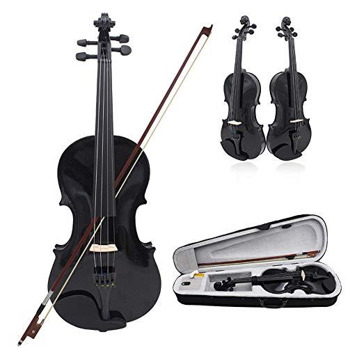 BLKykll Akustische Violine Set 4/4 Koffer + Bogen + Zubehör Kolofonium Aus Holz Für Anfänger (Schwarz) Geige Volle Größe Geschenke Für Musikliebhaber Lernen