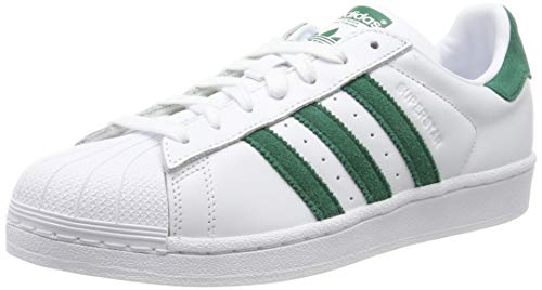 adidas Herren Superstar Sneaker, Weiß (Footwear White/Collegiate Green/Footwear White 0), 42 EU