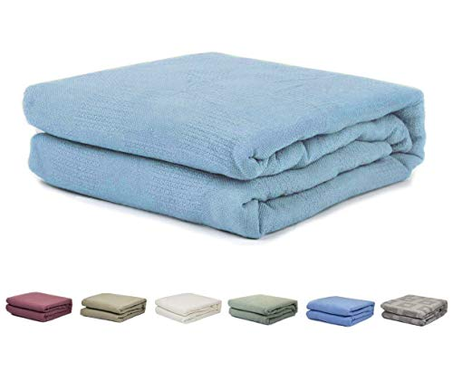 homelux beddings Homelux 100% Cotton Thermal Hospital/Home Twin Size Blanket - Sky Blue